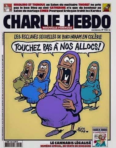 "a Charlie Hebdo cover cartoon on the ""Chibok girls"", with the caption (trans:) ""Sex slaves of Boko Haram are angry: 'do not touch our family allowance'"""