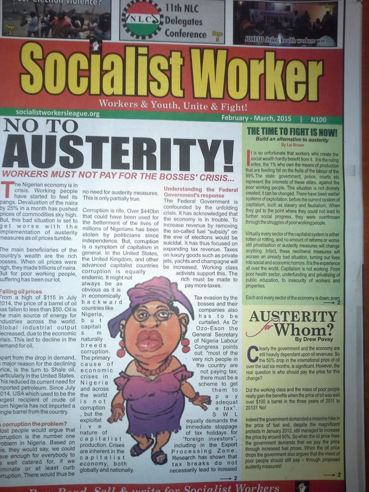 Socialist Worker February-March 2015 Cover, as issued on Wed. Feb. 4